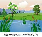 vector summer landscape. lake... | Shutterstock .eps vector #599605724