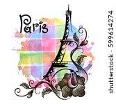 hand drawn eiffel tower. paris  ...   Shutterstock .eps vector #599614274