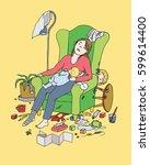 tired mother falls asleep | Shutterstock .eps vector #599614400