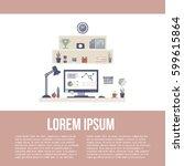 modern workspace with desktop... | Shutterstock .eps vector #599615864
