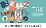 tax payment. data analysis ... | Shutterstock .eps vector #599616269