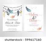 wedding pink blue template...   Shutterstock .eps vector #599617160