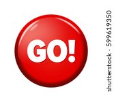 glossy red round button with... | Shutterstock .eps vector #599619350