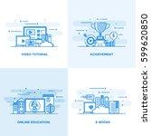 modern flat color line designed ... | Shutterstock .eps vector #599620850