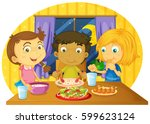 three kids having meal on the... | Shutterstock .eps vector #599623124