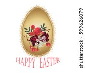 happy easter. a golden egg with ... | Shutterstock .eps vector #599626079