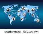 world map and network connection | Shutterstock . vector #599628494
