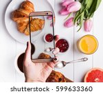 woman's hand taking photo of... | Shutterstock . vector #599633360