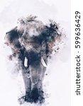 Watercolor Image Of Elephant...