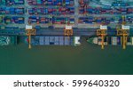 container  container ship in... | Shutterstock . vector #599640320