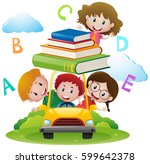 four kids driving car with... | Shutterstock .eps vector #599642378