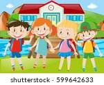 kids in a park with river | Shutterstock .eps vector #599642633