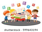four kids and books on wagon... | Shutterstock .eps vector #599643194