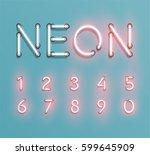 glowing neon font set   vector... | Shutterstock .eps vector #599645909