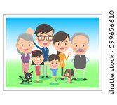 family memorial photo three... | Shutterstock .eps vector #599656610