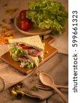 fresh made tuna sandwich on... | Shutterstock . vector #599661323