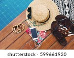 woman's summer holidays... | Shutterstock . vector #599661920