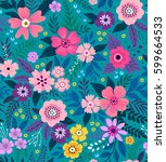 amazing seamless floral pattern ... | Shutterstock .eps vector #599664533