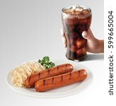 Small photo of Bratwurst and Sauerkraut with cold drink in hand on gray background