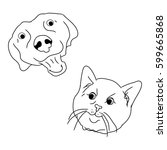 the head of a cat and dog on... | Shutterstock .eps vector #599665868