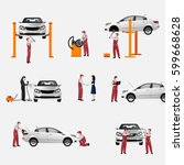 a flat set of auto repair icons ... | Shutterstock .eps vector #599668628