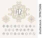 two letters monogram template... | Shutterstock .eps vector #599673686