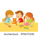 kids model toys with plasticine | Shutterstock .eps vector #599675330