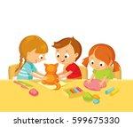 kids model toys with plasticine | Shutterstock .eps vector #599675330