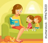 mom reading for little kids | Shutterstock .eps vector #599676020