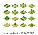 set 3d isometric urban parks.... | Shutterstock .eps vector #599685506