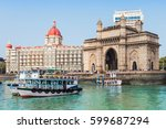 the gateway of india and boats...   Shutterstock . vector #599687294