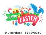 easter festive ribbon concept...   Shutterstock .eps vector #599690360