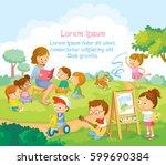 Children's activities  at the summer camp | Shutterstock vector #599690384