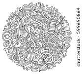 cartoon cute doodles hand drawn ... | Shutterstock .eps vector #599690864