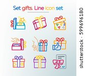 simple set of gifts. colored... | Shutterstock .eps vector #599696180