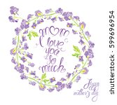 decorative handdrawn floral... | Shutterstock . vector #599696954