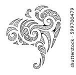 tribal art tattoo in maori style | Shutterstock .eps vector #599700479