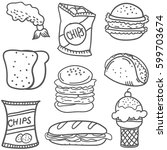 doodle of food collection stock | Shutterstock .eps vector #599703674