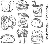 doodle of food style hand draw | Shutterstock .eps vector #599703938