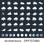weather icons and moon phases ... | Shutterstock .eps vector #599707880
