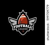 american football sports logo.... | Shutterstock . vector #599709779
