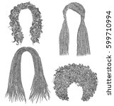 set of  different dreadlocks... | Shutterstock .eps vector #599710994