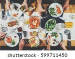 top view shot of festive table... | Shutterstock . vector #599711450