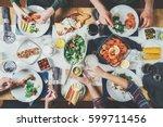 top view of best friends... | Shutterstock . vector #599711456