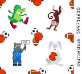 sport animals seamless pattern... | Shutterstock .eps vector #599716610