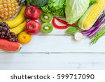 fresh organic fruits and... | Shutterstock . vector #599717090