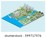 isometric city | Shutterstock .eps vector #599717576