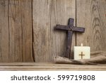 christian cross and candle. | Shutterstock . vector #599719808