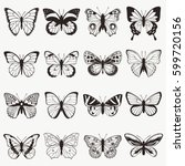 butterflies graphic vector set | Shutterstock .eps vector #599720156