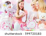 best friends on baby shower... | Shutterstock . vector #599720183